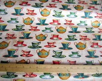 Teapot Flora Collection David Textiles Teapots and Teacups Multi cotton quilting fabric - teapots, teacups, floral, butterflies