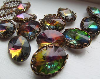 Vintage Oval Crystals, Set or Unset, Three Colors Available (See Description for Details.)