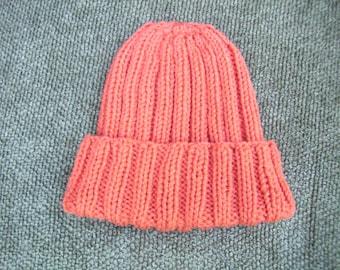 Knitted Orange / Tangerine Ribbed Hat