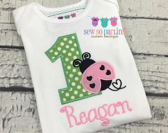 1st Birthday Lady bug Shirt - Baby Girl 1st Birthday Outfit - pink and green Ladybug Birthday Outfit - lady bug birthday shirt - Any age
