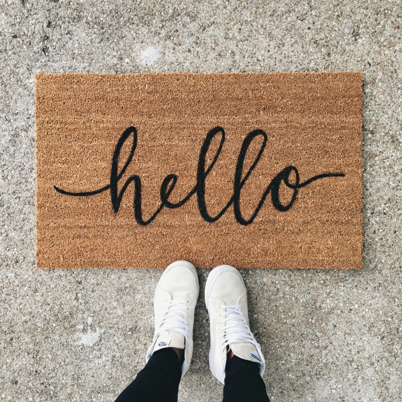 Hello Welcome Mat Hand Painted Custom Doormat Cute