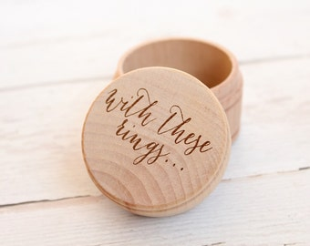 With These Rings Ring Box | Keepsake Ring Box | Engraved Rustic Wedding Ring Box | Ring Pillow Alternative | Free Shipping
