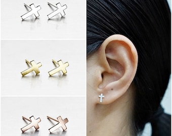 925 Sterling Silver Earrings, Cross Earrings, Gold Plated Earrings, Rose Gold Plated Earrings, Stud Earrings (Code : E48B)