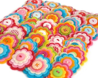 Felt Flower Embellishments for Scrapbooking Journals Handmade Flowers for Crafting Quilting Sewing Appliques Bulk Buy Pretty Flowers