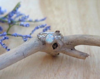 Sterling Silver Opal & cz ring |  Everyday opal ring | October Opal |  October birthstone gift |  Unique opal ring