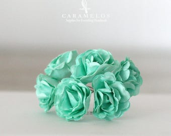 """Vintage Style Mint Millinery paper flowers 1 1/4"""""""
