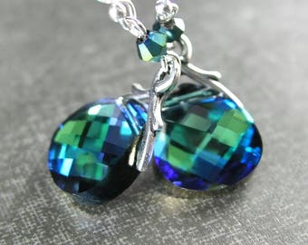 Blue Green Crystal Earrings, RARE Cobalt Blue Emerald Green Swarovski Crystal, Sterling Silver Blue Green Dangle Earrings, Green Blue Drops