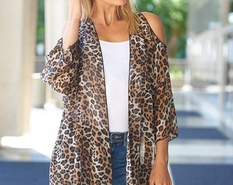Animal Print Kimono Cardigan Open Shoulder Detail
