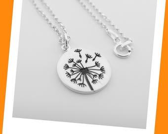 Dandelion Necklace - 925 Sterling Silver Dandelion Flower Necklace - Sweet 16 Birthday Gift -  Make a Wish Dandelion Jewelry - Best Friends