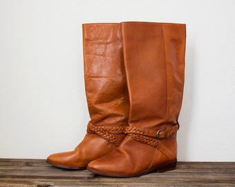 Vintage brown leather boots / riding boots / tall boots / buckle boots