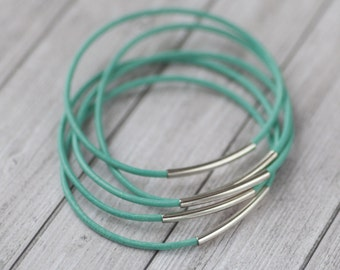 Turquoise leather bangles with silver tube, set of 5 bracelets