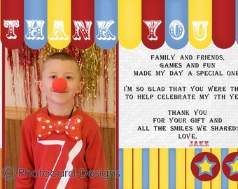 Circus Birthday Thank You, Carnival Thank You, Circus Thank You, Photo Thank You, Digital, Print file, invite, Big Top, Carnival, Circus
