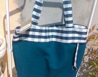 Blue cotton canvas  handbag tote bag