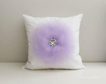 Lavender Pillow, Pillow Cover, White Pillow, Nursery Pillow, Flower Pillow, Lavender Flower, Nursery Decor, Purple Nursery, Accent Pillow