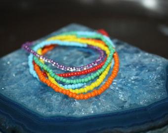 Rainbow Seed Bead Bracelet/Anklet/Necklace, Bohemian Ankle Bracelet, Hippie Festival, Colorful Wrap Bead Bracelet, Bracelet Wrap Boho
