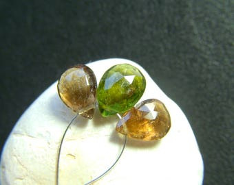 Mixed Tourmaline Faceted Drops - Set of 3 - 9.5 to 10mm