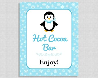Hot Cocoa Bar Sign, Penguin Drink Table Sign, Blue Snowflake, Winter Shower Sign,  INSTANT PRINTABLE