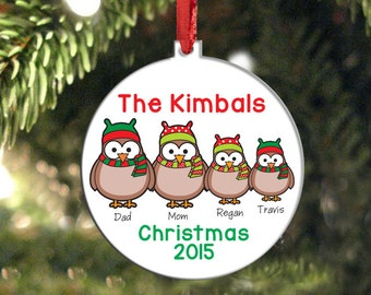 Owl Family Personalized Ornament, Christmas Ornament, Custom Holiday Family Ornament, Family Name Ornament, Christmas Owls, Holiday Gift
