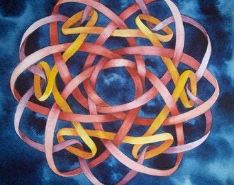 Borromean Knot Mandala III original watercolor