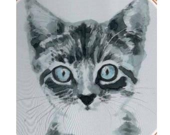Custom Cat portrait Custom Cat Painting Custom Pet portrait cat memorial kitten painting paint your pet 8 inch embroidery frame