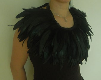 Black Basic Rooster feather collar fully lined #FC610