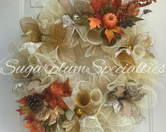 Cream and Gold Fall Deco Mesh Wreath