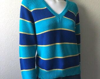 Vintage Women's 80's Esprit Sport, Sweater, Striped, V Neck, Long Sleeve (L)