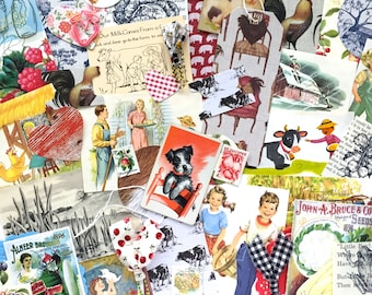 Country Life Ephemera Pack/45 Pieces/Mid Century Ephemera/Art Journaling/Junk Journaling/Mixed Media/Collage Art/Card Making