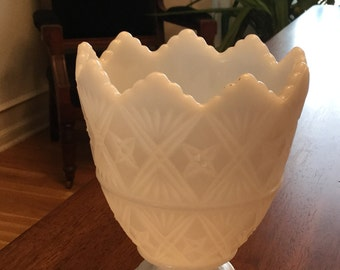 Vintage E.O. Brody Milk Glass Vase - 1960's