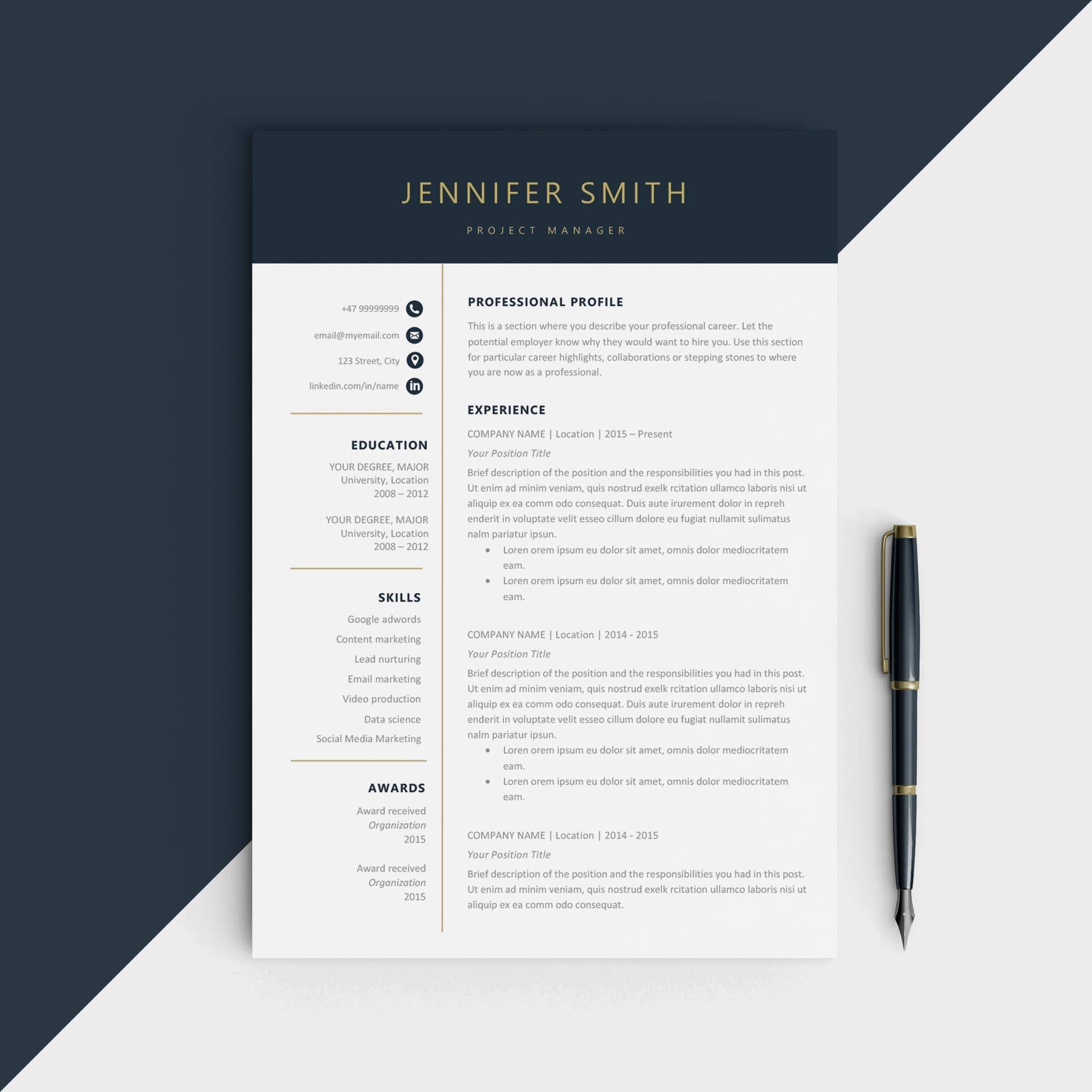 resume Modern Resume Design modern resume template cv for microsoft word