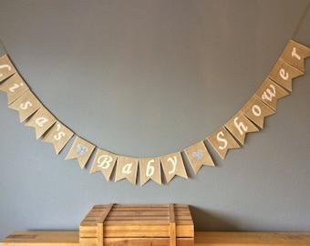 Baby Shower Bunting Banner Vintage Hessian Burlap