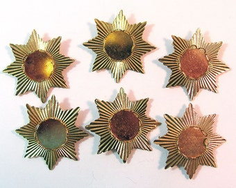 6 Gold Star Pendant Findings 32 mm wide