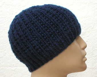 Navy blue beanie hat, ribbed beanie, blue hat, mens womens knit hat, toque, reversible hat, skull cap, chemo cap, blue beanie hat - V3 80