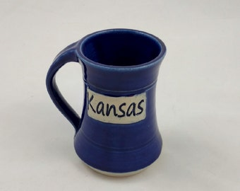 Blue Kansas Pottery Mug Handmade by Daisy Friesen