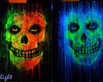 MISFITS logo band - uv reactive color - fluorescent paint