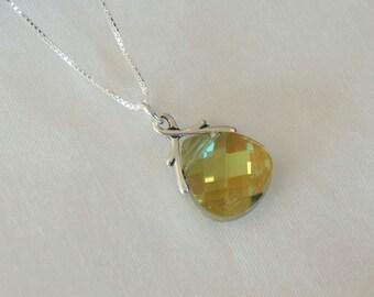 Swarovski Green Necklace - Green Bridesmaid Necklace - Crystal Necklace