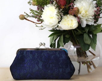 Navy Peony Lace Bridal Clutch | Bridesmaid Clutch