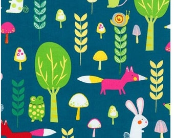 Forest Creatures and Critters on Blue (Garden) from Robert Kaufman's Creatures and Critters 3 Collection
