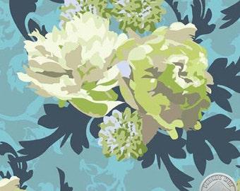 Vintage Verona by Emily Taylor Design for Riley Blake Designs C3601 Green, Navy, Cream, Aqua Floral Fabric