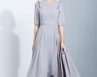 Chiffon dress, gray dress, long dress, pleated dress, fit and flare dress, summer dress, cute dress, womens dress, day dress C1137
