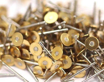 Stainless Steel Flat Posts Bulk, 1000 Stainless Steel Earring Posts With Raw Brass 4mm Flat Pad, 316L Ear Studs A0425
