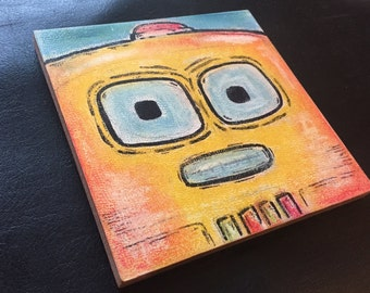 "Robot Class Photo #3: Boomer (Pastel/Ink on 5""x5"" canvas panel)"