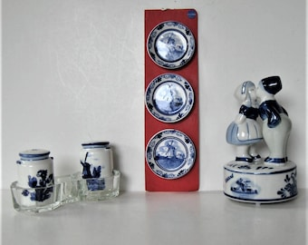 4 Blue and white Delft ceramics, Dutch boy and girl kissing music box, salt and pepper, 3 miniature plates, Made in Holland, gift idea