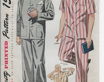Vintage Simplicity 1635 Men's Pajamas Size Large  Long Sleeve Short Sleeve Long Pants Shorts PJs for Men, Young Adults  42-44 Chest