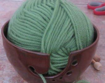 Brown/Red Yarn Bowl , Ceramic Yarn organizer, Knitting bowl