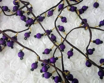 3.82 yrd of vintage wood and glass beads  trim,, 1900s