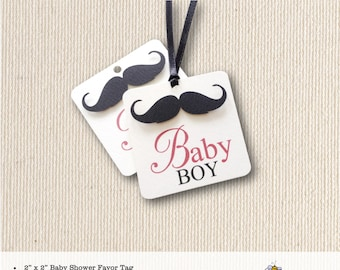 Baby Shower Favor Tag, mustache, boy, sprinkle, thank you tags, baby, dimensional, 2x2 favor tag T908