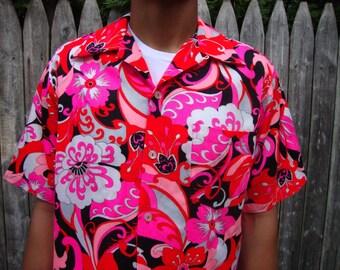 Vintage Psychedelic shirt rare Hukilau top Hawaiian Tropical Tiki Aloha Mod Hippie festival Retro Resort Beach Hipster Bohemian Gift for him