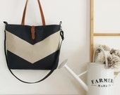 LARGE, Oatmeal linen chevron, Dark navy tote / diaper bag / shoulder bag.  9 inside pockets. Waterproof poly lining available