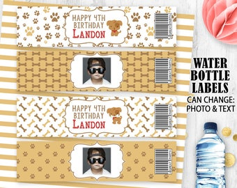 Dog water bottle labels Puppy bottle labels Puppies labels Dogs birthday labels Printable digital labels